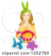 Clipart Of A Happy Caucasian Blond Woman Shaping Balloons Royalty Free Vector Illustration by BNP Design Studio