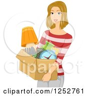 Clipart Of A Blond Caucasian Woman Carrying A Box Of Belongings Royalty Free Vector Illustration