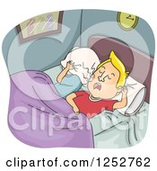 Clipart Of A Caucasian Wife Covering Her Head While Her Husband Snores Loudly Royalty Free Vector Illustration