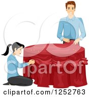 Clipart Of A Man And Woman Decorating A Table For A Formal Event Royalty Free Vector Illustration