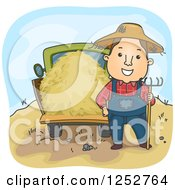 Clipart Of A Happy White Farmer Man With A Pitchfork And Hay Truck Royalty Free Vector Illustration