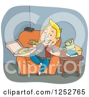 Clipart Of A Blond White Man Binge Eating Pizza And Junk Food Royalty Free Vector Illustration by BNP Design Studio