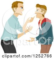 Clipart Of A Blond Caucasian Father Arguing With His Teenage Son Royalty Free Vector Illustration