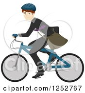 Clipart Of A Happy Caucasian Man Riding A Bike To Work Royalty Free Vector Illustration
