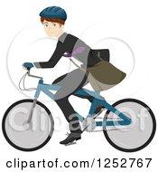 Happy Caucasian Man Riding A Bike To Work