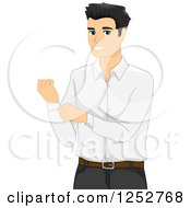 Clipart Of A Handsome Man Buttoning His Sleeve Royalty Free Vector Illustration
