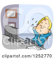 Clipart Of A Blond Caucasian Businessman Whistling And Slacking At Work Royalty Free Vector Illustration
