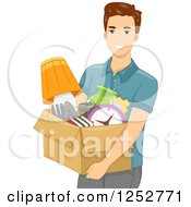 Clipart Of A Young White Man Carrying A Box Of Items Royalty Free Vector Illustration