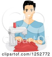 Clipart Of A Young Man Sewing With A Machine Royalty Free Vector Illustration