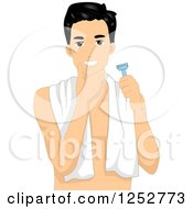 Clipart Of A Young Man Checking His Face After A Shave Royalty Free Vector Illustration