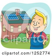 Clipart Of A Blond White Man Outside A House With Solar Panels On The Roof Royalty Free Vector Illustration by BNP Design Studio