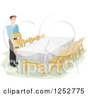 Clipart Of A Caucasian Man Preparing A Table For An Informal Dinner Royalty Free Vector Illustration