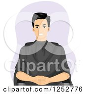 Clipart Of A Happy Man Waiting For A Haircut At A Barber Shop Royalty Free Vector Illustration by BNP Design Studio