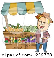 White Man At A Farmers Market Vegetable Stand