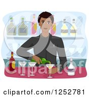 Clipart Of A Handsome Black Bartender Man Mixing Drinks Royalty Free Vector Illustration by BNP Design Studio