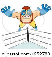 Clipart Of A Mexican Luchador Wrestler Man Jumping Off Of The Ropes Royalty Free Vector Illustration by BNP Design Studio