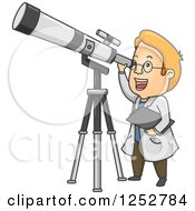 Clipart Of A Red Haired White Male Astronomer Looking Through A Telescope Royalty Free Vector Illustration