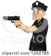 Clipart Of A Caucasian Police Man Aiming A Gun Royalty Free Vector Illustration