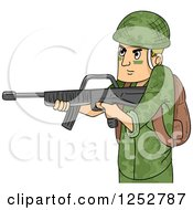 Clipart Of A Caucasian Soldier Man Aiming A Machine Gun Royalty Free Vector Illustration