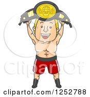 Blond White Boxer Champion Holding Up A Belt