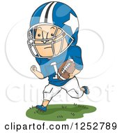 Clipart Of A White Male Football Player Running With The Ball Royalty Free Vector Illustration by BNP Design Studio