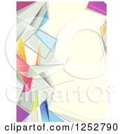 Clipart Of A Colorful Abstract Geometric Border Around Beige Text Space Royalty Free Vector Illustration