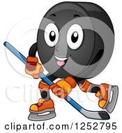 Clipart Of A Hockey Puck Character In Action Royalty Free Vector Illustration