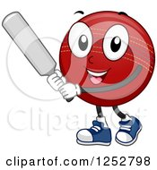 Clipart Of A Cricket Ball Character Batting Royalty Free Vector Illustration