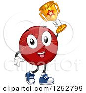 Clipart Of A Champion Cricket Ball Holding A Trophy Royalty Free Vector Illustration