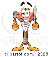 Sink Plunger Mascot Cartoon Character Holding A Knife And Fork by Toons4Biz