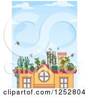 Clipart Of A House With A Roof Top Garden Over Blue Sky Royalty Free Vector Illustration