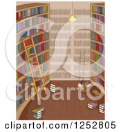 Clipart Of A Library Interior With A Ladder And Books And Boxes On The Floor Royalty Free Vector Illustration