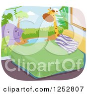 Clipart Of A Bedroom With A Safari Themed Elephant And Giraffe Wall Mural Royalty Free Vector Illustration