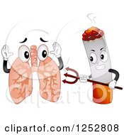 Clipart Of A Devil Cigarette Attacking Lungs Royalty Free Vector Illustration
