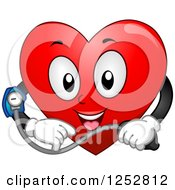 Clipart Of A Happy Heart Taking Its Blood Pressure Royalty Free Vector Illustration