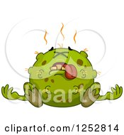 Clipart Of A Dead Green Germ Royalty Free Vector Illustration