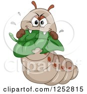Clipart Of A Hungry Caterpillar Eating A Leaf Royalty Free Vector Illustration