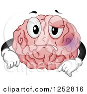 Clipart Of A Bruised Brain Character Royalty Free Vector Illustration