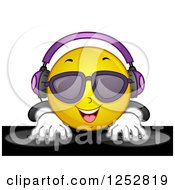 Clipart Of A Dj Emoticon Mixing Records Royalty Free Vector Illustration