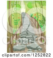 Clipart Of A Stone Stair Path Through A Forest Royalty Free Vector Illustration
