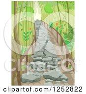 Stone Stair Path Through A Forest