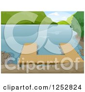 Clipart Of A Boat Dock On A Calm Lake Royalty Free Vector Illustration by BNP Design Studio