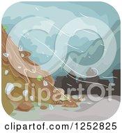 Clipart Of A Mud Landslide In A Storm Royalty Free Vector Illustration by BNP Design Studio