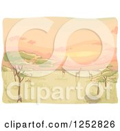 Clipart Of A Safari African Sunset With Acacia Trees And Giraffes Royalty Free Vector Illustration by BNP Design Studio