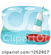 Clipart Of A Small Sailboat At Sea Royalty Free Vector Illustration by BNP Design Studio
