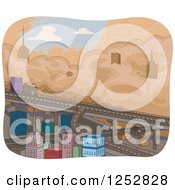 Clipart Of A Sandstorm Approaching A City Royalty Free Vector Illustration by BNP Design Studio
