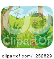 Clipart Of A Lush Green Forest Royalty Free Vector Illustration
