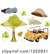 Clipart Of A Safari Jeep And Accessories Royalty Free Vector Illustration