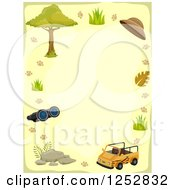 Clipart Of A Border Of A Safari Jeep And Accessories Royalty Free Vector Illustration by BNP Design Studio
