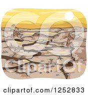 Clipart Of A Cracked Dry Drought Landscape At Sunset Royalty Free Vector Illustration